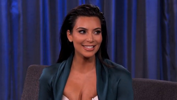 Kim Kardashian appearing on Jimmy Kimmel Live, 4 August 2014