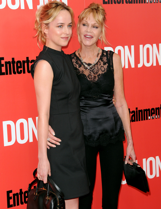 """Melanie Griffith and Dakota Johnson at the New York Premiere of """"Don Jon"""" - red carpet arrivals at the """"SVA"""" theater, 2013"""