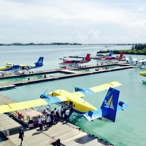 Georgia Horsley honeymoon photo of water taxis, Naladhu, Maldives 12 August