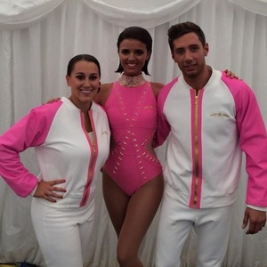 Lucy Mecklenburgh with acrobat Billy Jacques and coach Katie Richards, Twitter 9 August