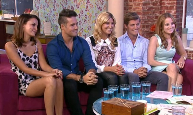 'This Morning' TV Programme, London, Britain. - 11 Aug 2014. Lucy Watson, Spencer Matthews, Cheska Hull, Stevie Johnson and Rosie Fortescue.