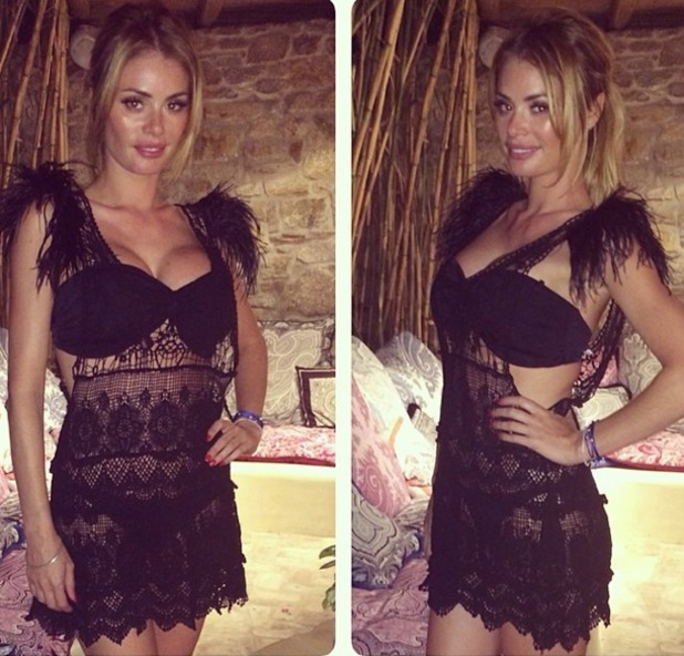 Chloe Sims wears a sheer beach cover-up while on holiday in Mykonos, Greece - 11 August 2014