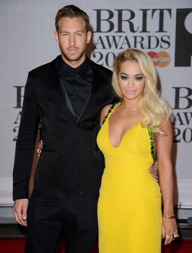 Calvin Harris and Rita Ora at The Brit Awards (Brit's) 2014 held at the O2 - Arrivals 02/19/2014 London, United Kingdom