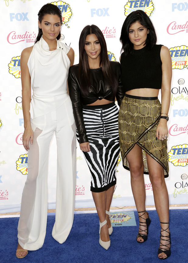 Kendall Jenner, Kylie Jenner and Kim Kardashian attend the Teen Choice Awards 2014 in Los Angeles, America - 10 August 2014
