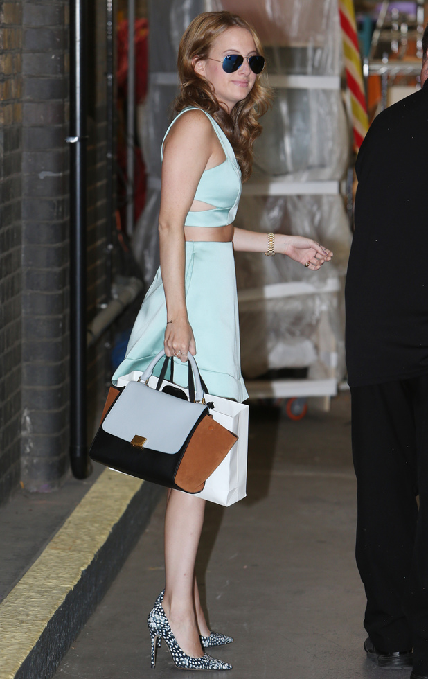 Made In Chelsea's Rosie Fortescue wears a mint green Topshop two-piece for an appearance on This Morning - London, England - 11 August 2014