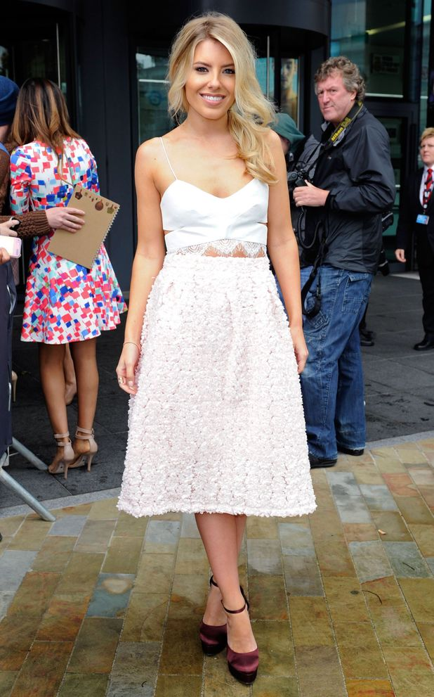 Mollie King wears a Topshop skirt while outside the BBC studios in Manchester, England - 13 August 2014