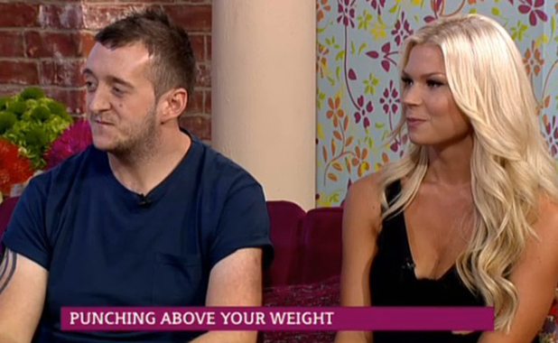 Darren Donaghy with wife Kate on This Morning. Darren has won a national Punching Above Your Weight contest, 15 August 2014
