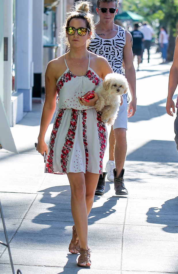Ashley Tisdale carries her dog Maui whilst out in Studio City, 10 August 2014