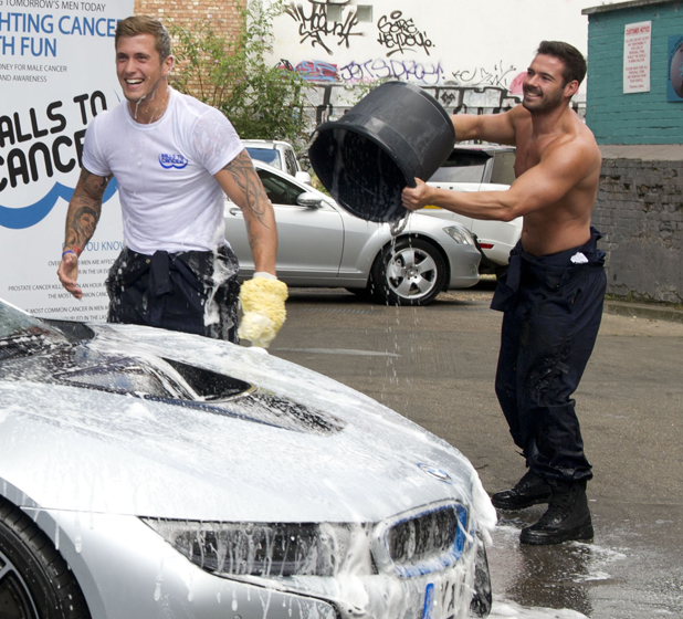 Dan Osborne - the UK's biggest heartthrob - and newest addition to the UK's most successful and famous male strip group The Dreamboys, got lathered up today for a charity car-washing event, 13 August 2014