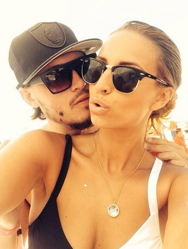 TOWIE's Ferne McCann and Charlie Sims snuggle up for a selfie on Ibiza holiday, 12 August 2014