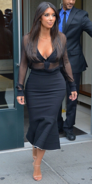 Kim Kardashian on her way to SiriusXM Radio, New York, 11 August 2014