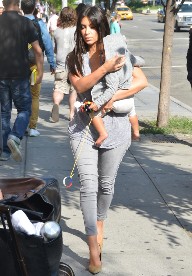 Kim Kardashian out and about with baby North West, New York, America - 11 Aug 2014