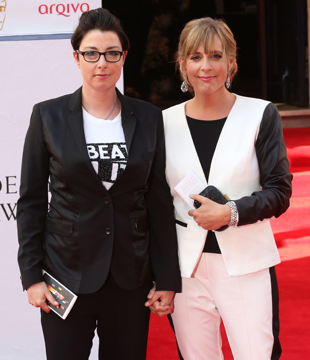 Sue Perkins,Mel Giedroyc, The Arqiva British Academy Television Awards 2014 (BAFTA) - Arrivals, 18 May 2014