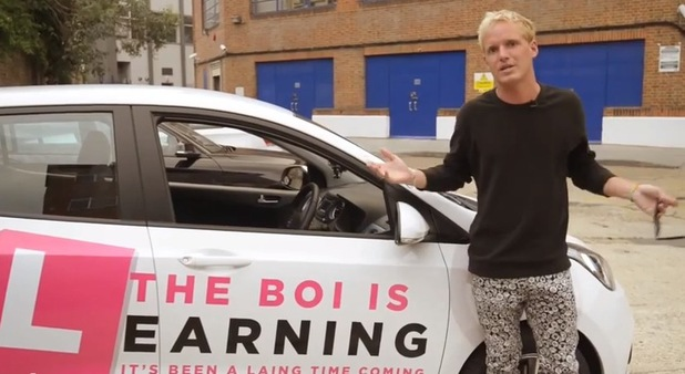 Jamie Laing with his learner car. 18/08/14