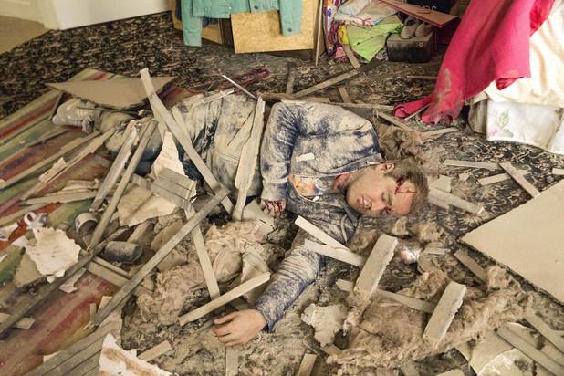 Corrie, Tyrone falls through the loft, Mon 25 Aug