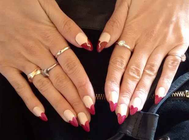 Ashley James shows off her heartbreak manicure while in Virgin Media's Louder Lounge at V Festival - Chelmsford, Essex - 17 August 2014