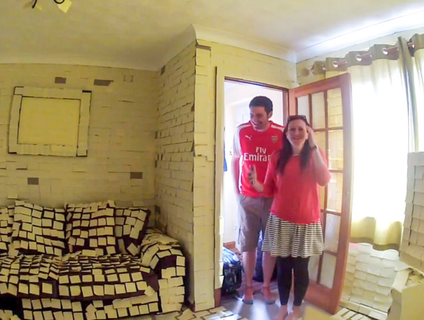 Jamie and Emily Pharro return from honeymoon to discover home covered with post-it notes