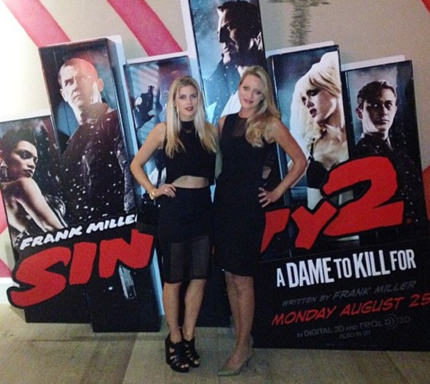 Ashley James and friend at VIP screening of Sin City 2: A Dame To Kill For in Soho, London 20 August