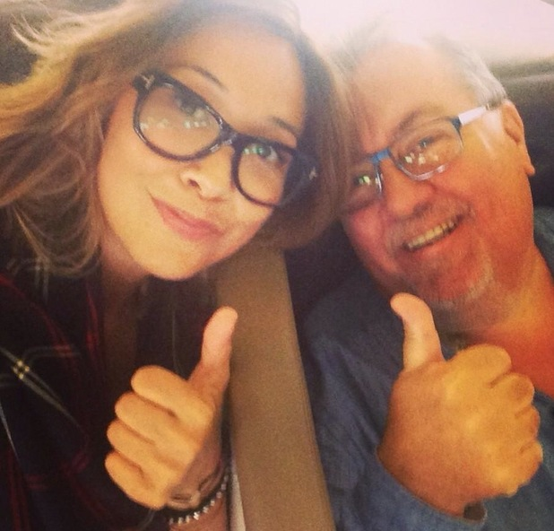 Myleene Klass on plane, taken from her Twitter. 18/8/14