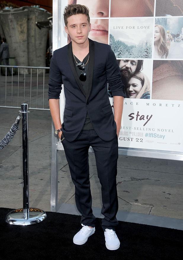 Brooklyn Beckham arrives at the Los Angeles premiere of 'If I Stay' at TCL Chinese Theatre on August 20, 2014 in Hollywood, California.