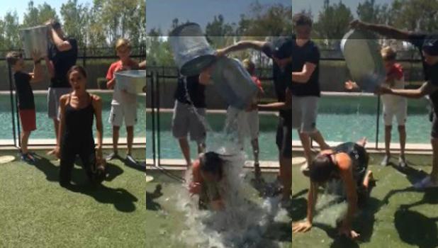 Victoria Beckham completes ALS ice bucket challenge, 21 August 2014