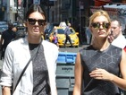 Kendall Jenner pairs tiny denim shorts with long white coat in New York
