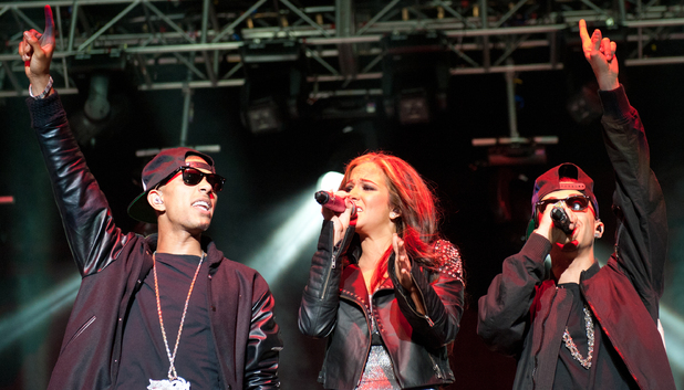 Richard 'Fazer' Rawson, Tula 'Tulisa' Contostavios and Dino 'Dappy' Contostavios of N-Dubz perform on stage headlining day one of The Ultrasound Music Festival on September 3, 2011. (Photo by Ollie Millington/Redferns)