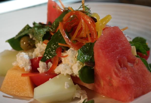 Feta, melon and watermelon salad