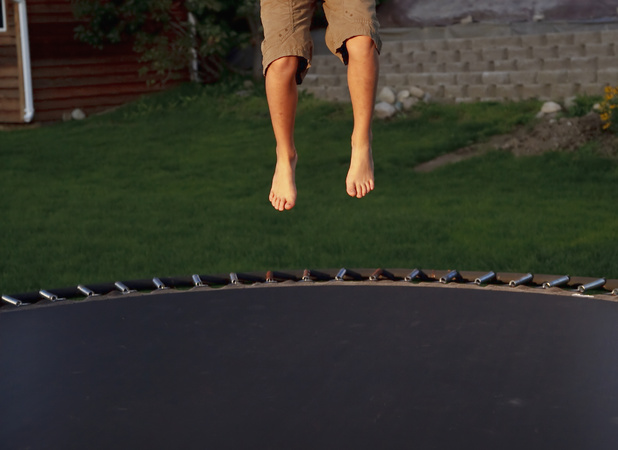 Unnamed boy saved his family by jumping onto trampoline