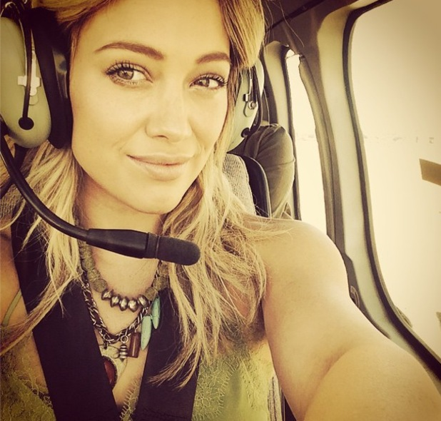 Hilary Duff takes a helicopter ride to San Diego for radio promo, Instagram 28 August