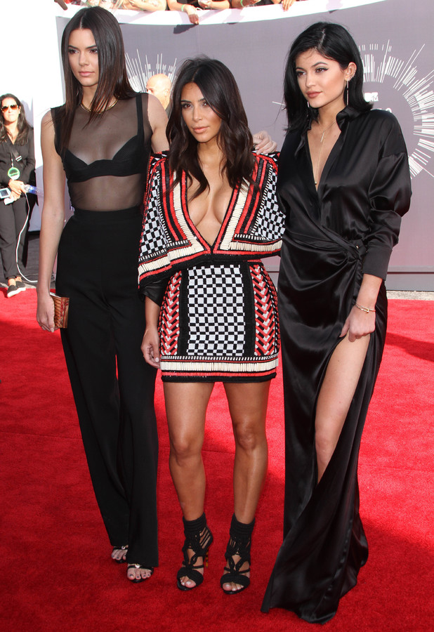 Kim Kardashian attends the 2014 MTV Video Music Awards at The Forum with half sisters Kendall and Kylie, 24 August 2014