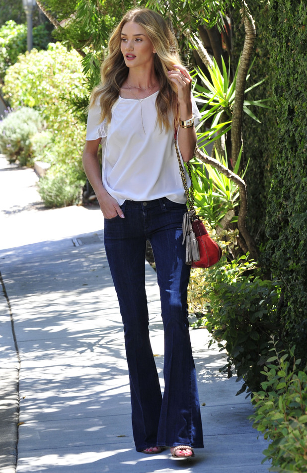Rosie Huntington-Whiteley wears flared jeans while out in Malibu, Los Angeles, America - 25 August 2014