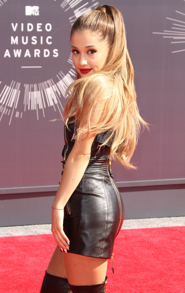 Ariana Grande wears a leather outfit to the MTV Video Music Awards in Los Angeles, America - 24 August 2014