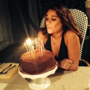 Lea Michele blows out candles on cake on 28th birthday, Instagram 30 August