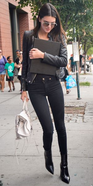 Kendall Jenner wears a leather jacket while out in New York, America - 1 September 2014