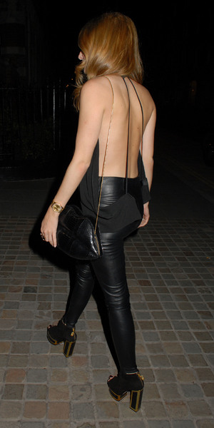 Made In Chelsea's Rosie Fortescue wears backless top on night out in London, 5 September 2014