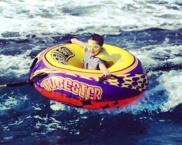 Coleen Rooney shares picture of Kai in a swimming ring in Cyprus - 31 August 2014