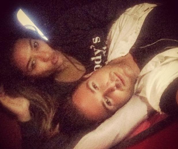 Vanessa White and Aaron Renfree on The Saturdays tour bus, Instagram 4 September