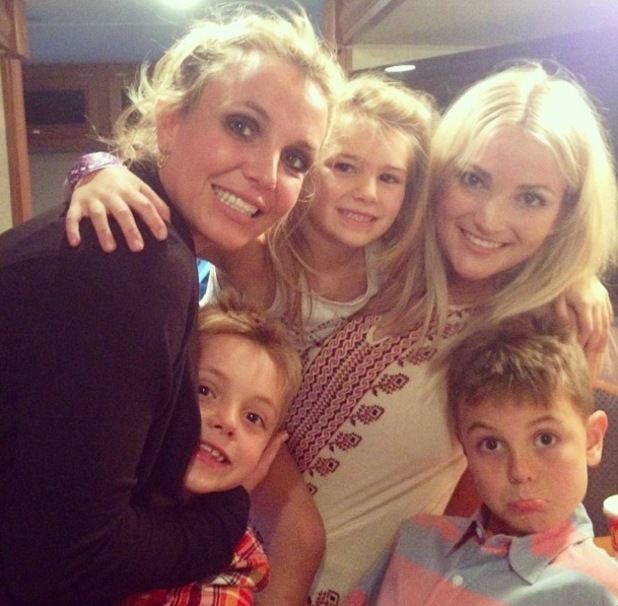 Britney Spears and sons Jayden and Sean with Jamie Lynn Spears and her daughter Maddie, LA County Fair 1 September