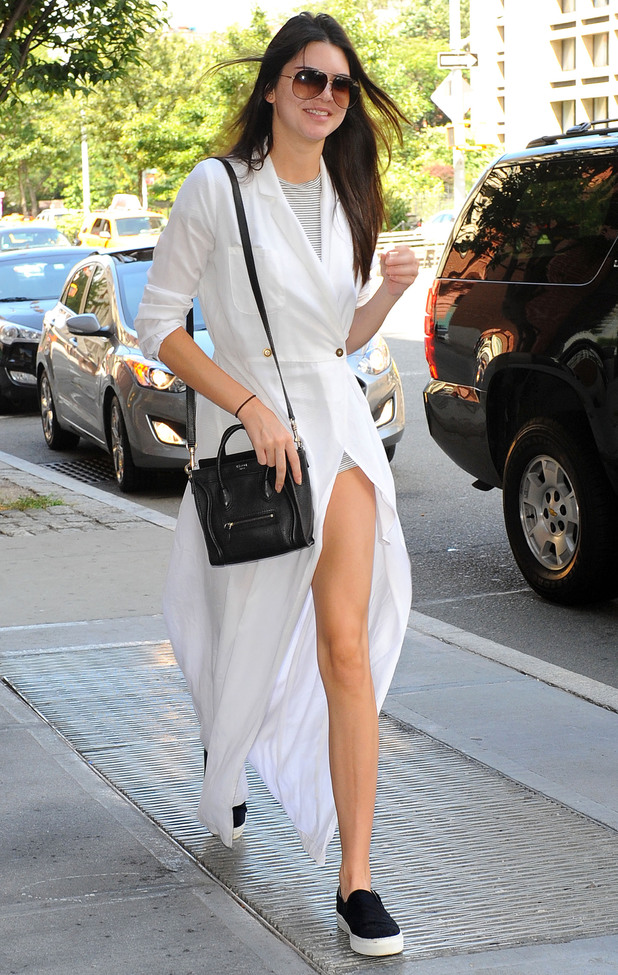 Kendall Jenner wears a long white coat in New York, America - 30 August 2014