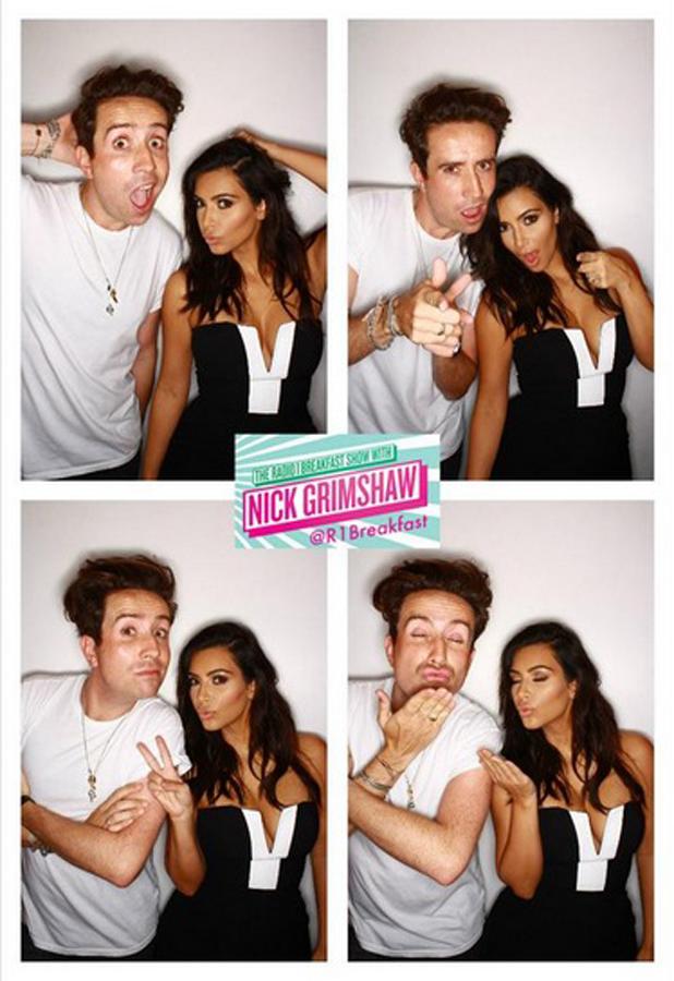 Kim Kardashian and Nick Grimshaw take selfies at the BBC Radio studios, 3 September 2014