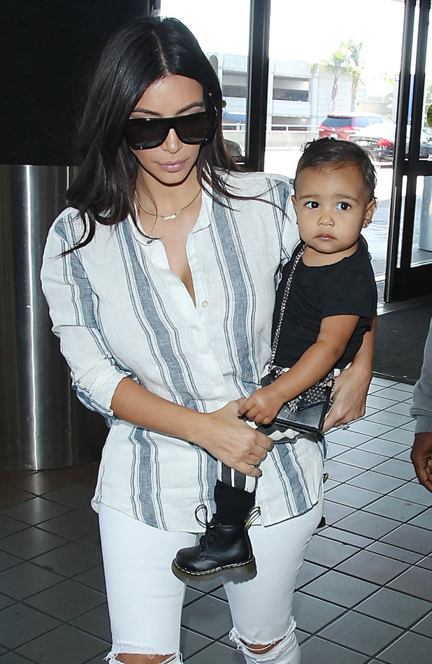 Kim Kardashian and North West are seen on September 1, 2014 in Los Angeles, California. (Photo by SMXRF/Star Max/GC Images)