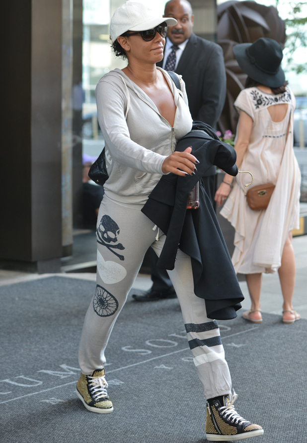 Mel B leaving a hotel in New York City wearing a tracksuit, 4 September 2014