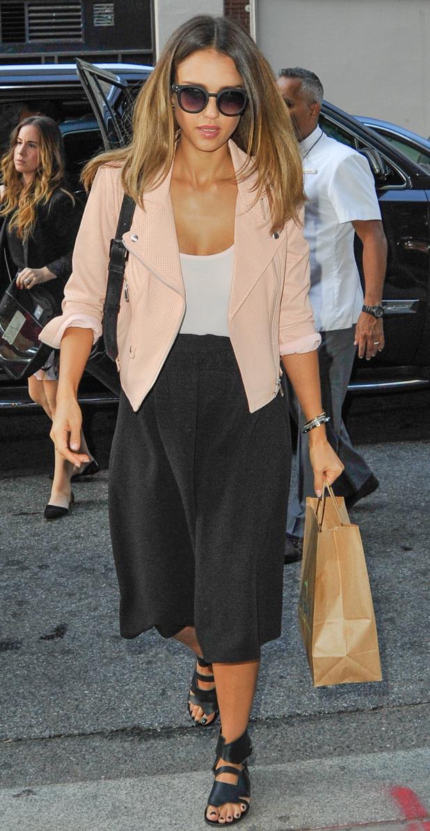 Jessica Alba spotted returning to her hotel in Manhattan, New York, US 10 September