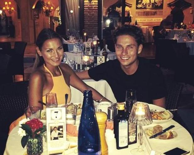Sam Faiers and Joey Essex enjoy a meal together in Marbella, Spain, 8 September 2014.
