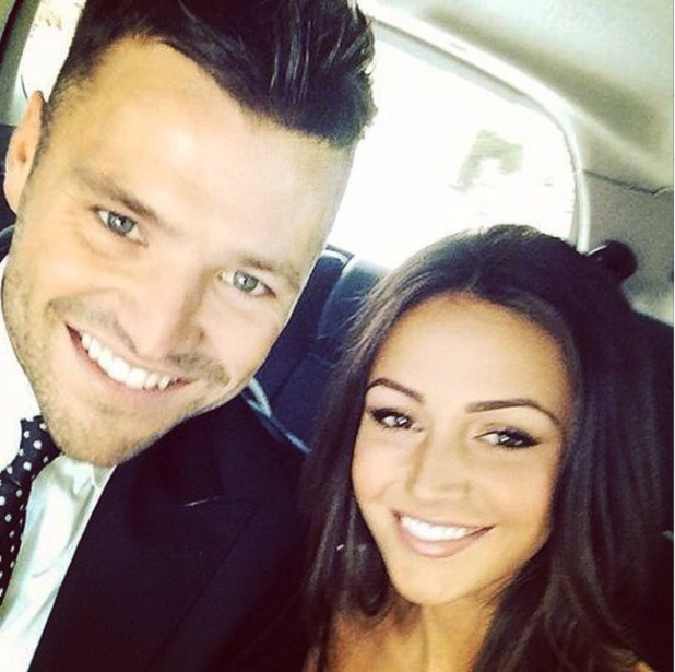 Michelle Keegan takes selfie with hubby-to-be Mark Wright, Sep 2014.