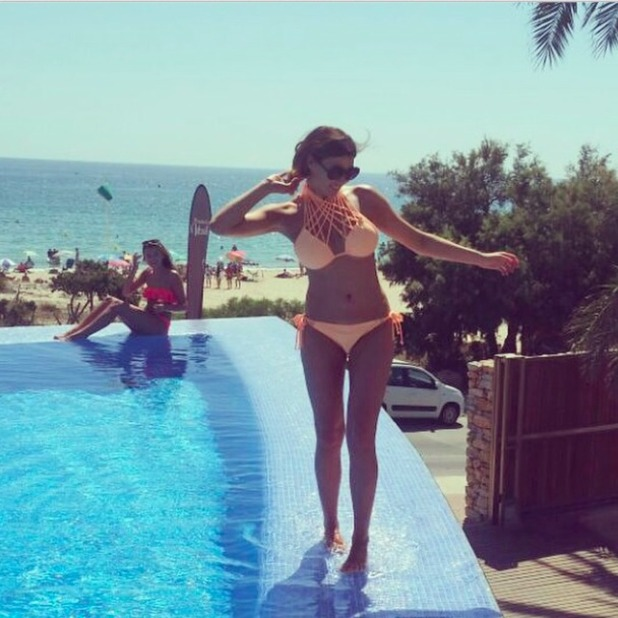 TOWIE's Jessica Wright stuns in peach bikini on holiday in Spain, 13 September 2014