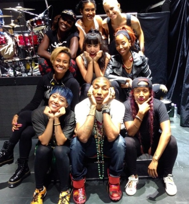 Pharrell Williams poses with backing dancers ahead of 'Dear G I R L' European tour - 8 September.