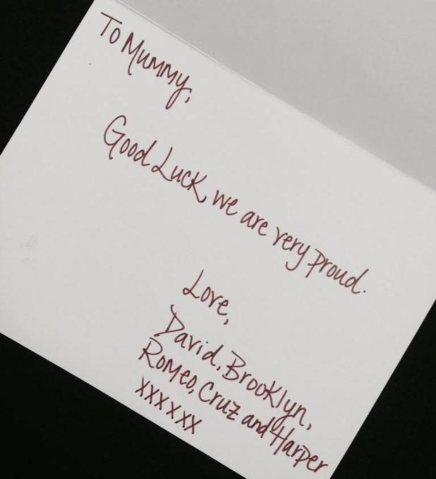 Victoria Beckham gets good luck card ahead of her New York Fashion Week show - 07 Sep 2014