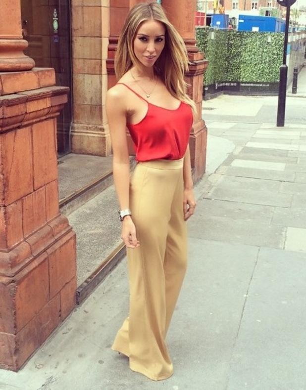 Lauren Pope models trousers from her new A/W14 range, London 10 September